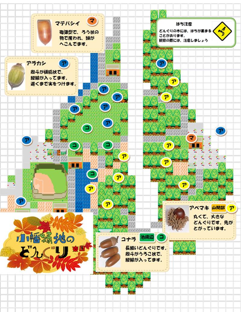 小幡緑地どんぐり拾いマップ東園